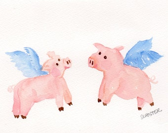 watercolor painting Flying Pigs original  5 x 7 inches, when pigs fly, pigs with wings art, flying pig art decor