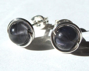 Tiny Iolite Earrings 4mm Iolite Studs Iolite Post Earrings Wire Wrapped in Sterling Silver Stud Earrings