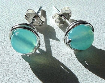 Aqua Blue Chalcedony Studs 6mm Faceted Seafoam Aqua Blue Chalcedony Earrings Post Earrings Wire Wrapped in Sterling Silver Chalcedony Studs