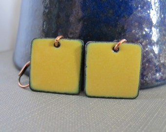 Enameled Earrings, Copper Earrings, Dandelion Yellow, Square Earrings, Geometric Jewelry, Copper Jewelry, Dangle Earrings