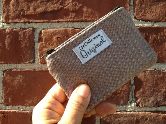 Coin Purse - Bronze Linen Shimmer Small Coin Purse, Zipper Wallet