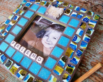 """Mosaic Teal Picture Frame """"Friend"""""""