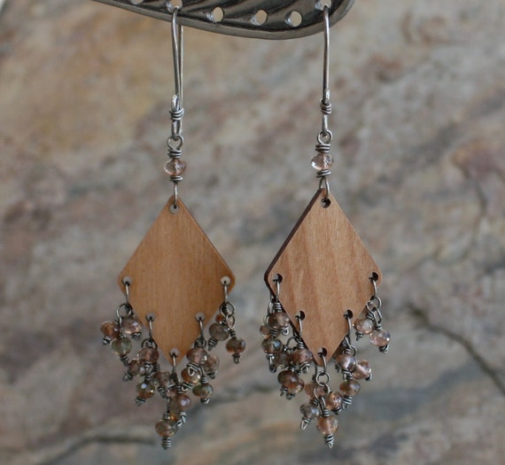 Wood And Andalusite Chandelier Earrings Sterling Silver Wood