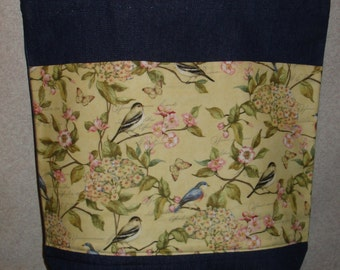 New Large Handmade Birds Nature Flowers Forest Denim Tote Bag