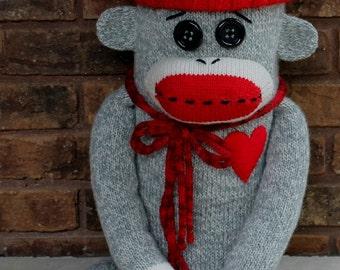 Sale - Boy Sock Monkey Pillow