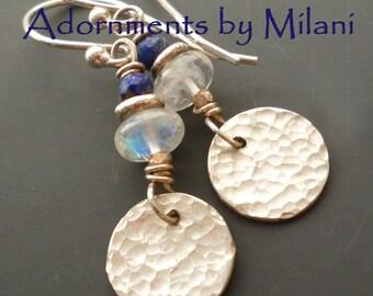 Blue White Earrings Navy Moonstone Lapis Gemstones Beaded - Oasis