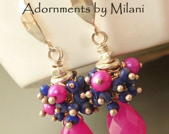 Hot Pink Earrings Navy Dark Blue Neon Gemstone Beaded Sterling Silver