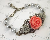 Coral and Gray Filigree Flower Bracelet