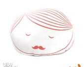 Limited Edition Guy Face Plush Pillow in Coral Pink Print