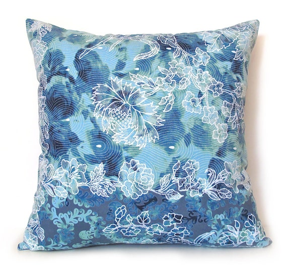 SALE Blue Tones Floral Pattern 16 Inches Square Pillow Cover