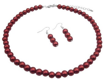 Red Passionate Adorable Pearls Necklace Set Wedding Jewelry Bridemaids Affordable Red Pearls Necklace Earrings Set