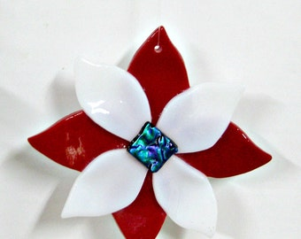 Fused Glass Flower Ornament - Red White and Blue Dichroic Center
