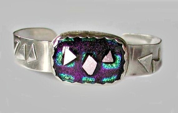 Fused Dichroic Glass and Fine Silver Triangles  Skinny Cuff Bracelet