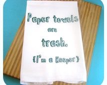 Green Kitchen Towel Eco Friendly Gifts Tea Towel Screen Printed Hand Towels