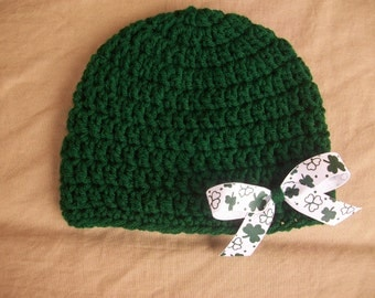 Infant Crochet Hat in Green with Clover Ribbon Bow