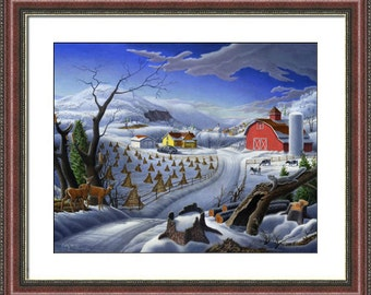 Winter Farm Landscape Print, Country Christmas, Folk Art, Americana, Amish, Appalachian, Framed Matted and Print. by Walt Curlee