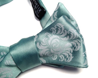 Damask bow tie, dusty shale. Self-tie, freestyle men's bow tie. Silkscreened tone on tone print. Your choice of pale mint hues and more.
