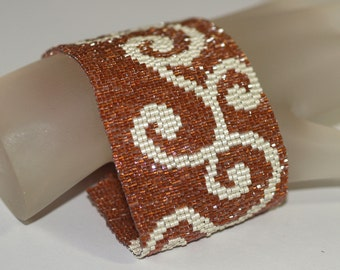 Waltz, Copper and Matte Silver ... Peyote Bracelet . Wide Cuff . Beadwoven . Seed Beads . Beadwork . Metallic . Stylish . Chic . Elegant