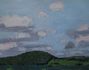 Late Summer, Mount Pleasant, Original Landscape Painting on Paper, Stooshinoff