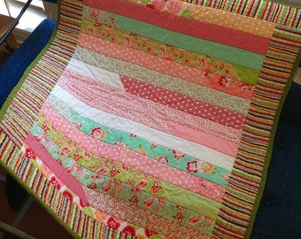 Handmade Baby Quilt Floral, Red, Pink, Lime, Green, Pattern, Flowers, Stripes, Scrumptious, Toddler, Stroller Crib Blanket