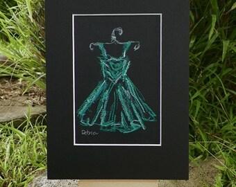 Aqua Pastel Illustration Dress Sketch Fashion Drawing Art Original Painting by Artist Debra Alouise