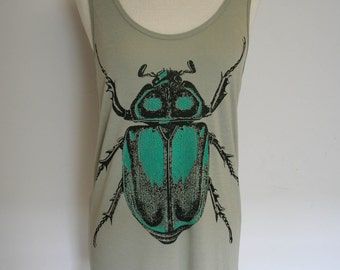 Gray Taupe Emerald Beetle Tank Top