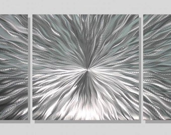 SALE! Large 3 Piece Set of Silver Metal Wall Art - Etched Wall Sculpture, Contemporary Home Decor - Enlivenment III by Jon Allen