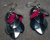 Something Fishy - silver, fuchsia, and grey scalemail earrings