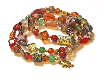 Autumn Trio of Bracelets Wood Gem Glass Brass Gold Amber Green Burgundy Bronze Colors Autumn Fall Gold Leaf Charm OOAK & Ready to Ship