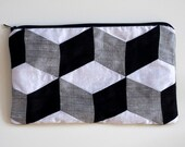 Black and White 3D Cube Purse Silk Zip Clutch Bridesmaids Clutch