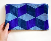 Zip Pouch Silk Blue Purse 3D Cube Bridesmaids Gift