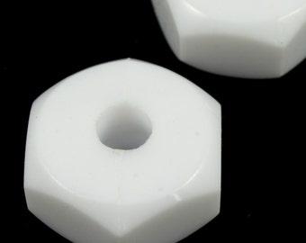 7mm x 13mm White Hex Nut Bead (2 Pcs) #1398