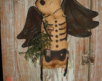 Primitive Winged Skeleton Day of the Dead Doll PATTERN E-pattern