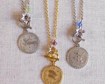 personalized zodiac necklace . horoscope necklace . personalized birthstone necklace . zodiac necklace . birthstone charm necklace // 1SIGN