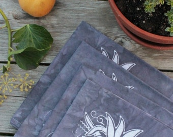 chrysanthemum earthy purple patio table napkins