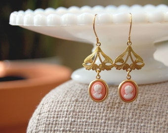 vintage cameo dangle earrings- brass floral and coral- romantic whimsy
