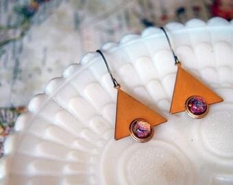 brass triangle vintage dangle earrings- opal tone stone- vintage modern - geometric