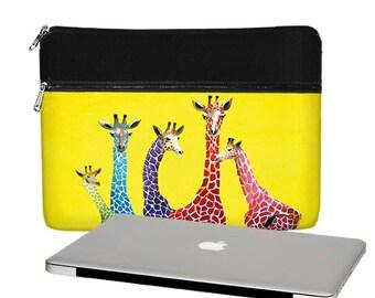 Clara Nilles 13 inch Laptop Sleeve /  Macbook Pro 13 Case / 13 Macbook Air Bag /  Macbook Pro Retina - Cute Giraffe yellow RTS