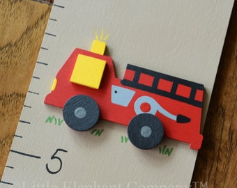 Firetruck and Dalmation Wooden Growth Chart, handpainted, FREE nail cover and personalization