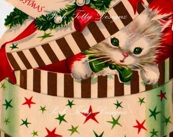 Kitten In A Box Vintage Greetings Card Digital Download Printable Image (418)