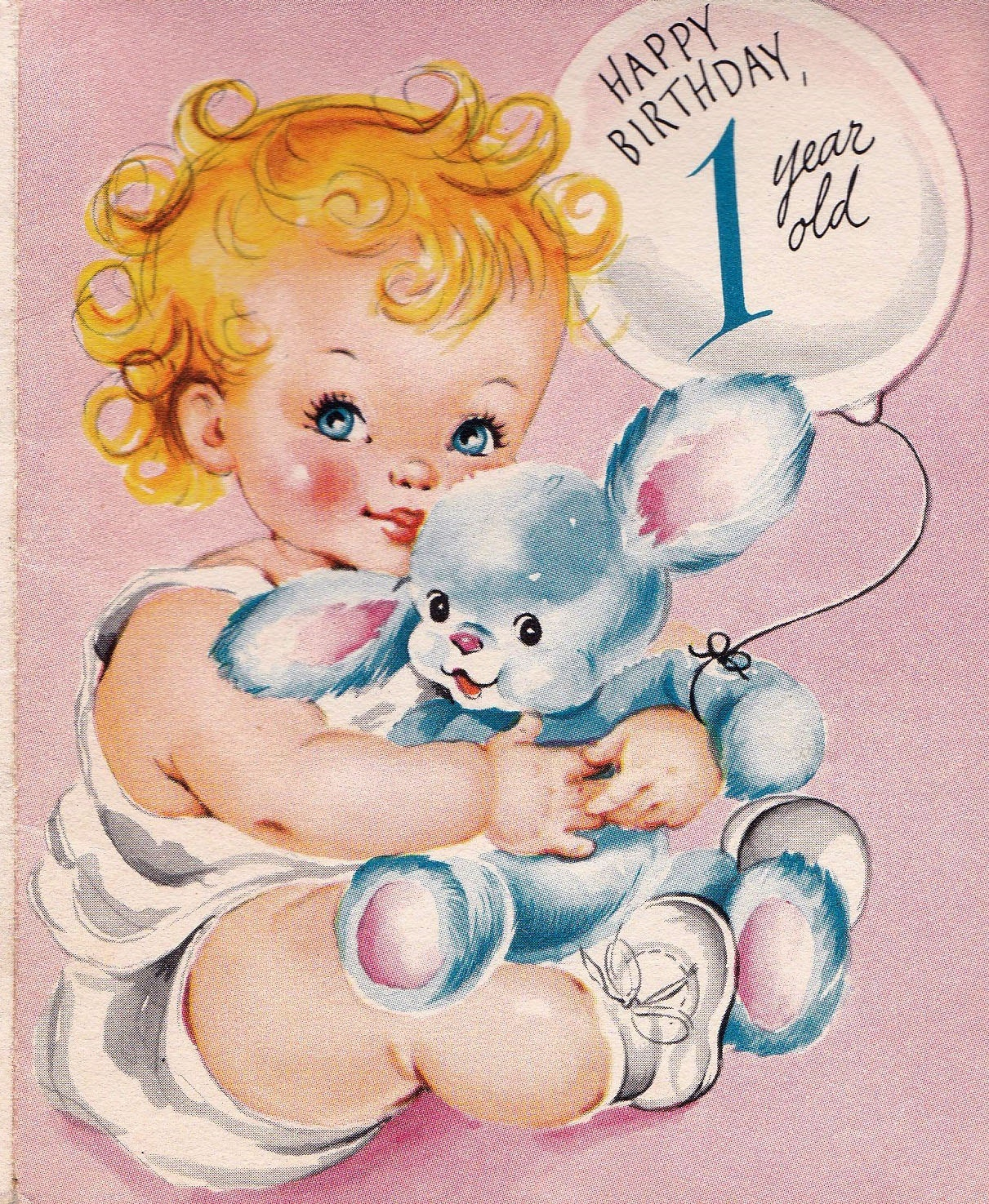Vintage 1950s Happy Birthday 1 Year Old Greetings Card B9