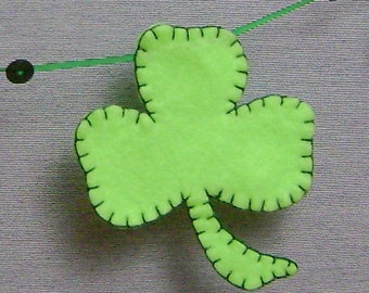 st patrick's day garland -green felt shamrock banner - hand stitched - embroidered - holiday decor