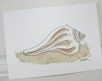 Seashell Watercolor Painting, Ink Drawing, Whelk Shell Painting, Conch Shell, Beach Art, Summer,  Ink and Watercolor,  5 x 7