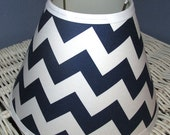 ON SALE NAVY and White Chevron Zig Zag Stripe Lamp Shade Kids Decor, Any Color Trim, 4 Sizes
