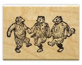 DANCING BEARS, music rubber stamp No.10