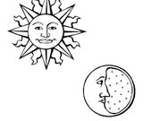 Sun and Moon - set of 2 unmounted rubber stamp No.15