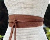 REVERSIBLE Leather obi wrap sash belt - Distressed Tobacco Brown - XS S M L XL Plus & Petite Size - bonus fabric print- Double Sided belt