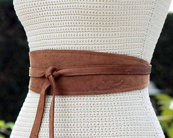 REVERSIBLE Leather obi wrap sash belt - Distressed Tobacco Brown - XS S M L XL Plus & Petite Size - bonus fabric print- Double Sided belt