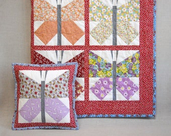Baby Quilt - Baby Girl Quilt - Handmade Quilt and Pillow Set  Set -  1930s Butterflies - Feedsack Baby Blanket