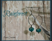 Teal Earrings Gunmetal Czech Glass Black Blue Picasso RAINFOREST